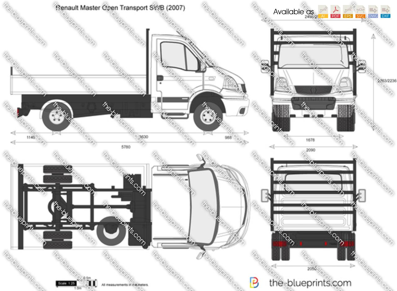 renault master open transport swb vector drawing. Black Bedroom Furniture Sets. Home Design Ideas