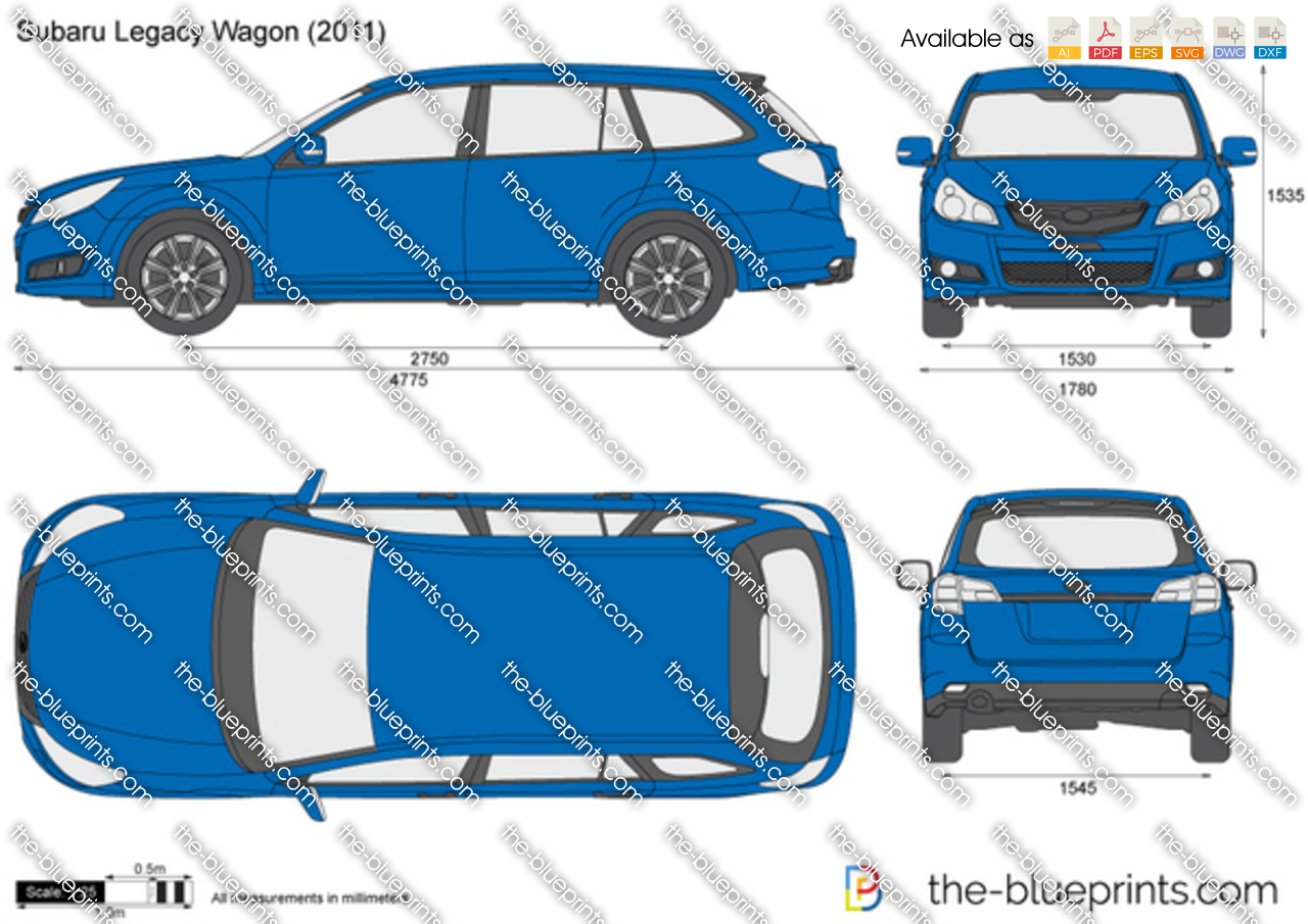 Subaru Legacy Wagon Vector Drawing