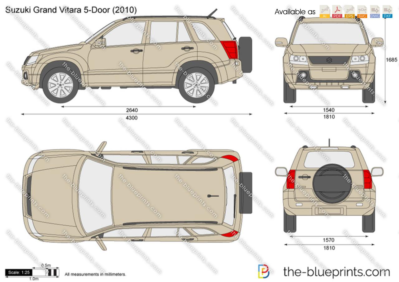 Suzuki Grand Vitara 5 Door Vector Drawing