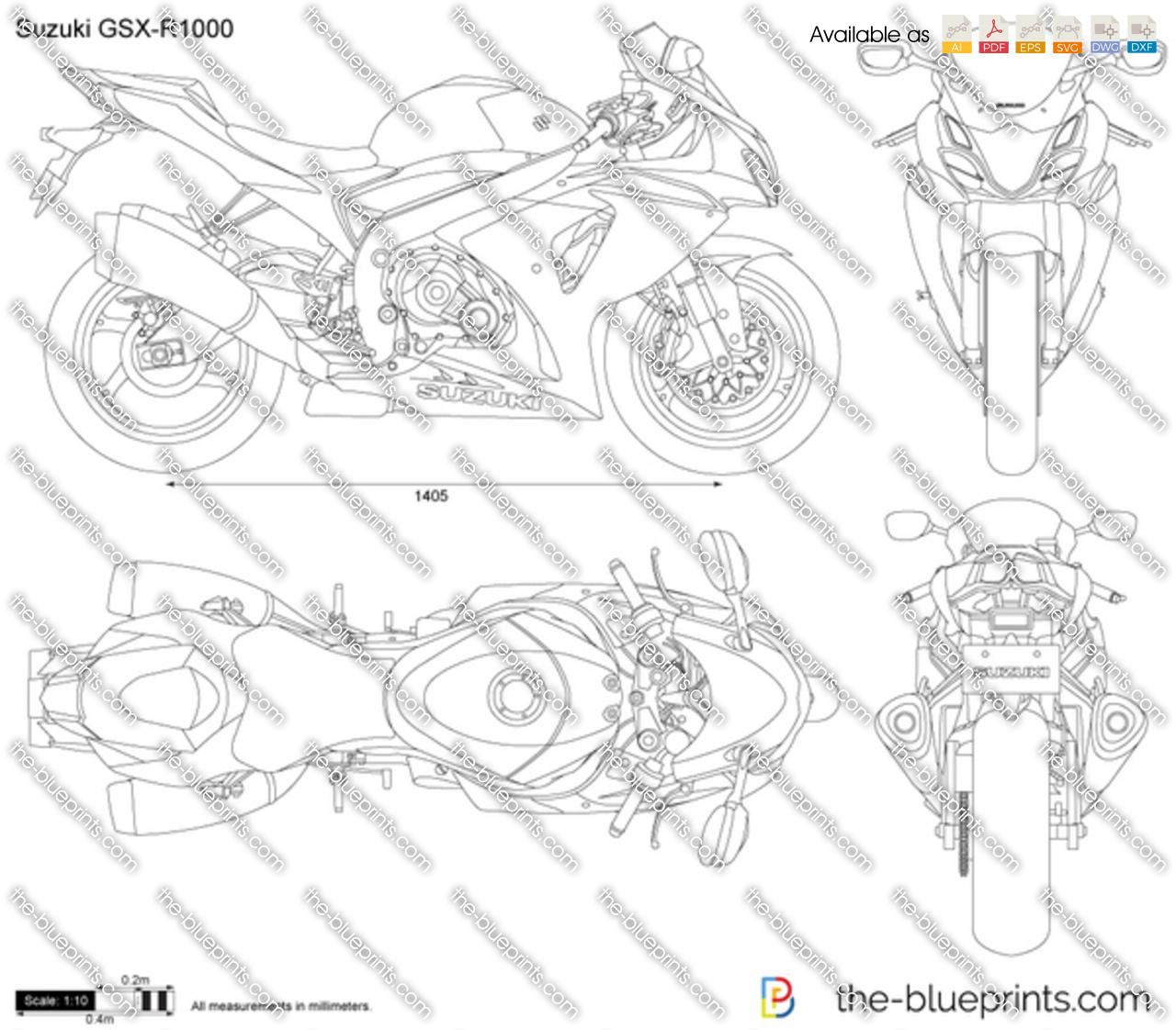 Suzuki Gsx R1000 Vector Drawing
