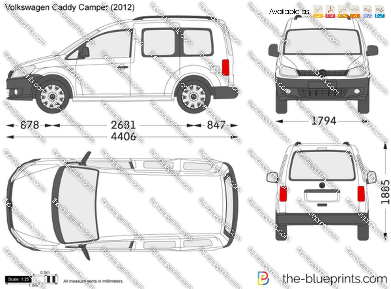 The-Blueprints.com - Vector Drawing - Volkswagen Caddy Camper