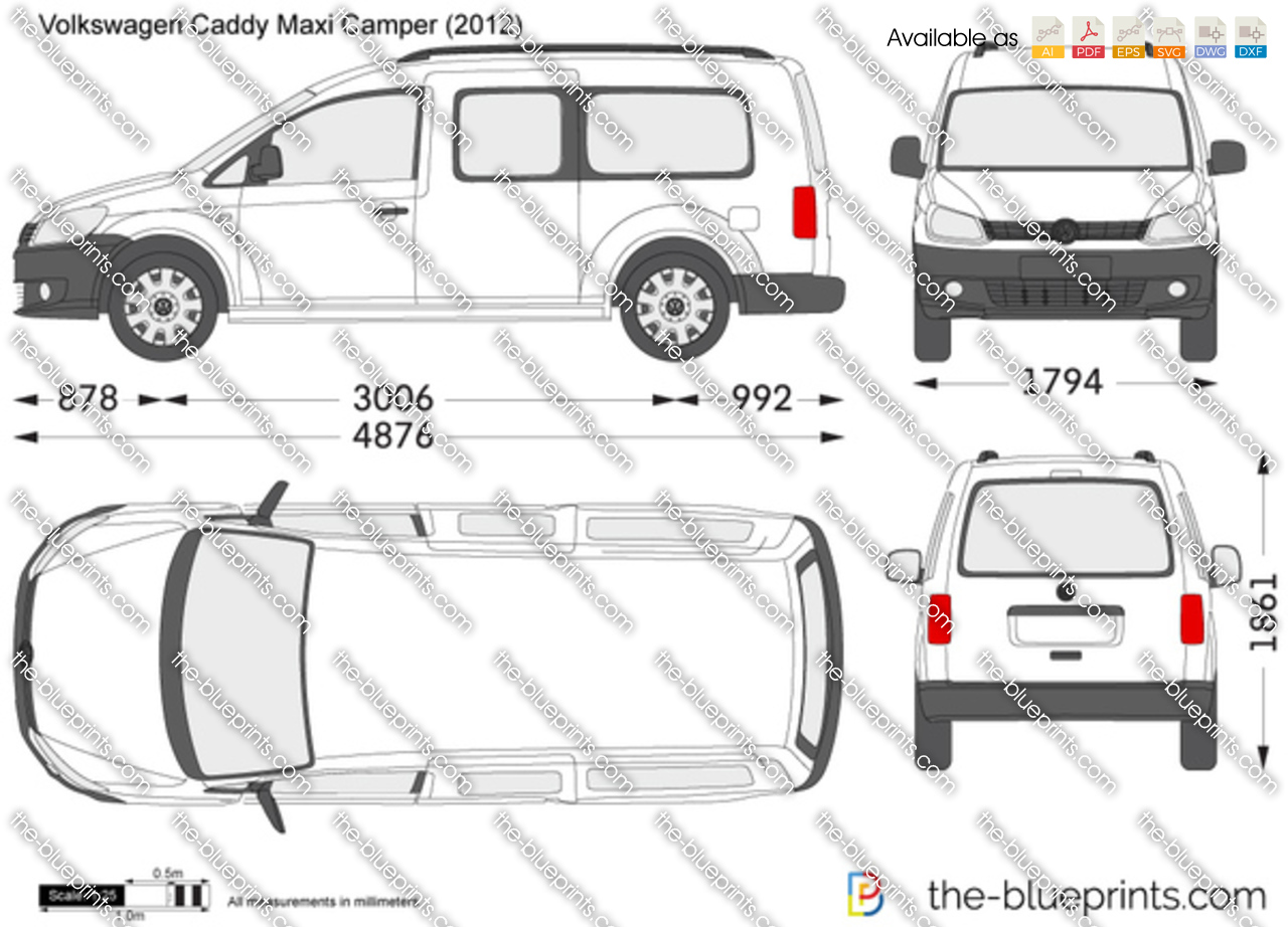 Volkswagen caddy maxi camper vector drawing volkswagen caddy maxi camper malvernweather Choice Image