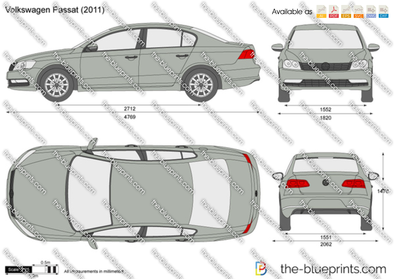 The-Blueprints.com - Vector Drawing - Volkswagen Passat