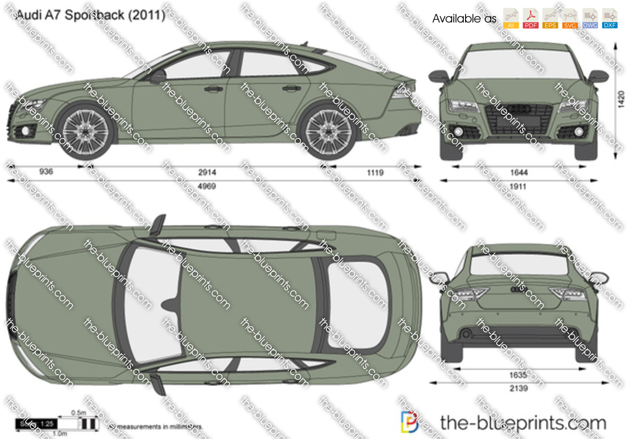 the vector drawing audi a7 sportback. Black Bedroom Furniture Sets. Home Design Ideas