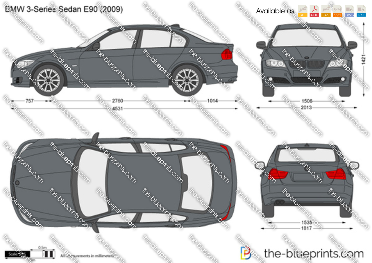 Bmw 3 Series Sedan E90 Vector Drawing