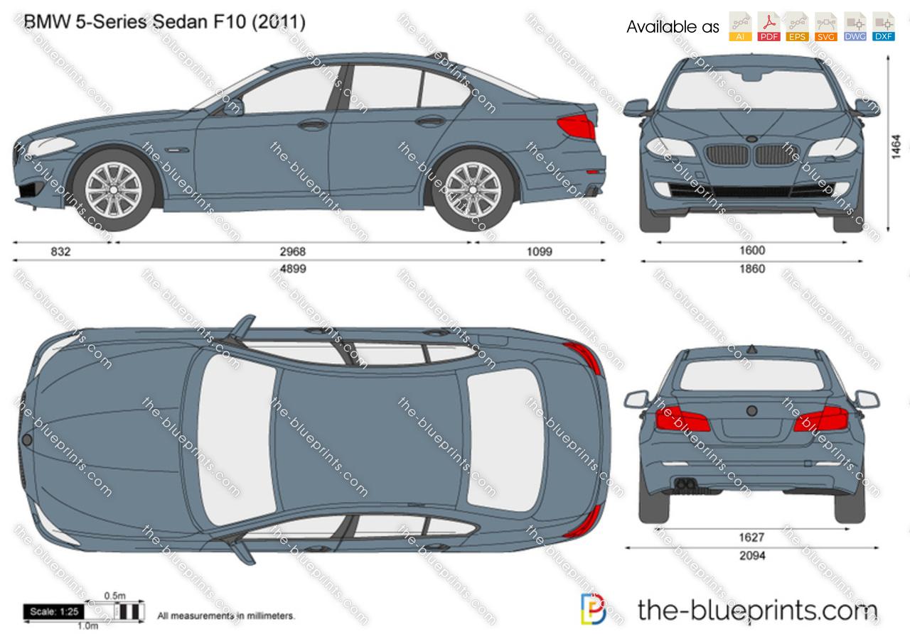 bmw 5 series sedan f10 vector drawing. Black Bedroom Furniture Sets. Home Design Ideas