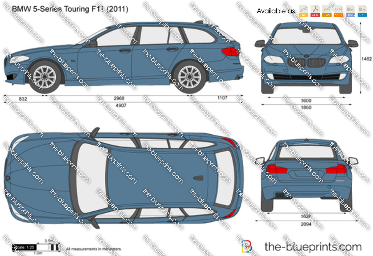 Bmw 5 Series Touring F11 Vector Drawing