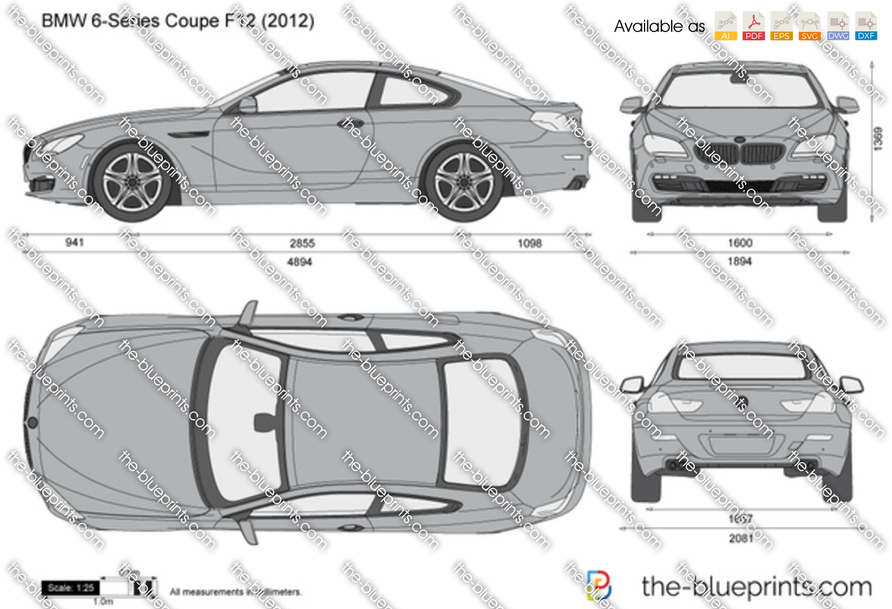 BMW 6-Series Coupe F13 vector drawing