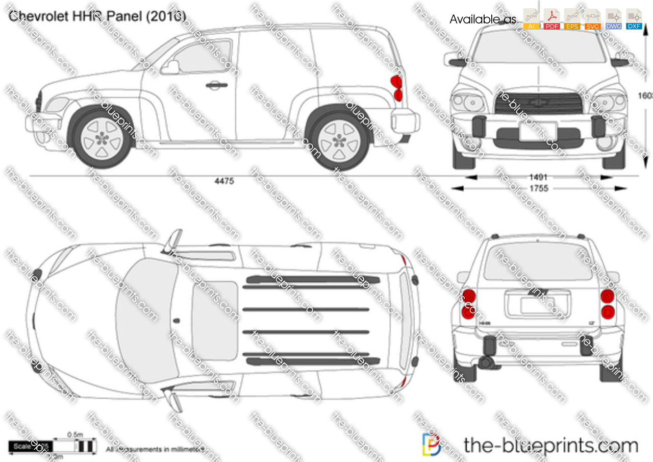 chevrolet hhr panel vector drawing