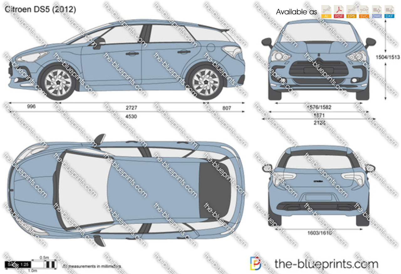 citroen ds5 vector drawing