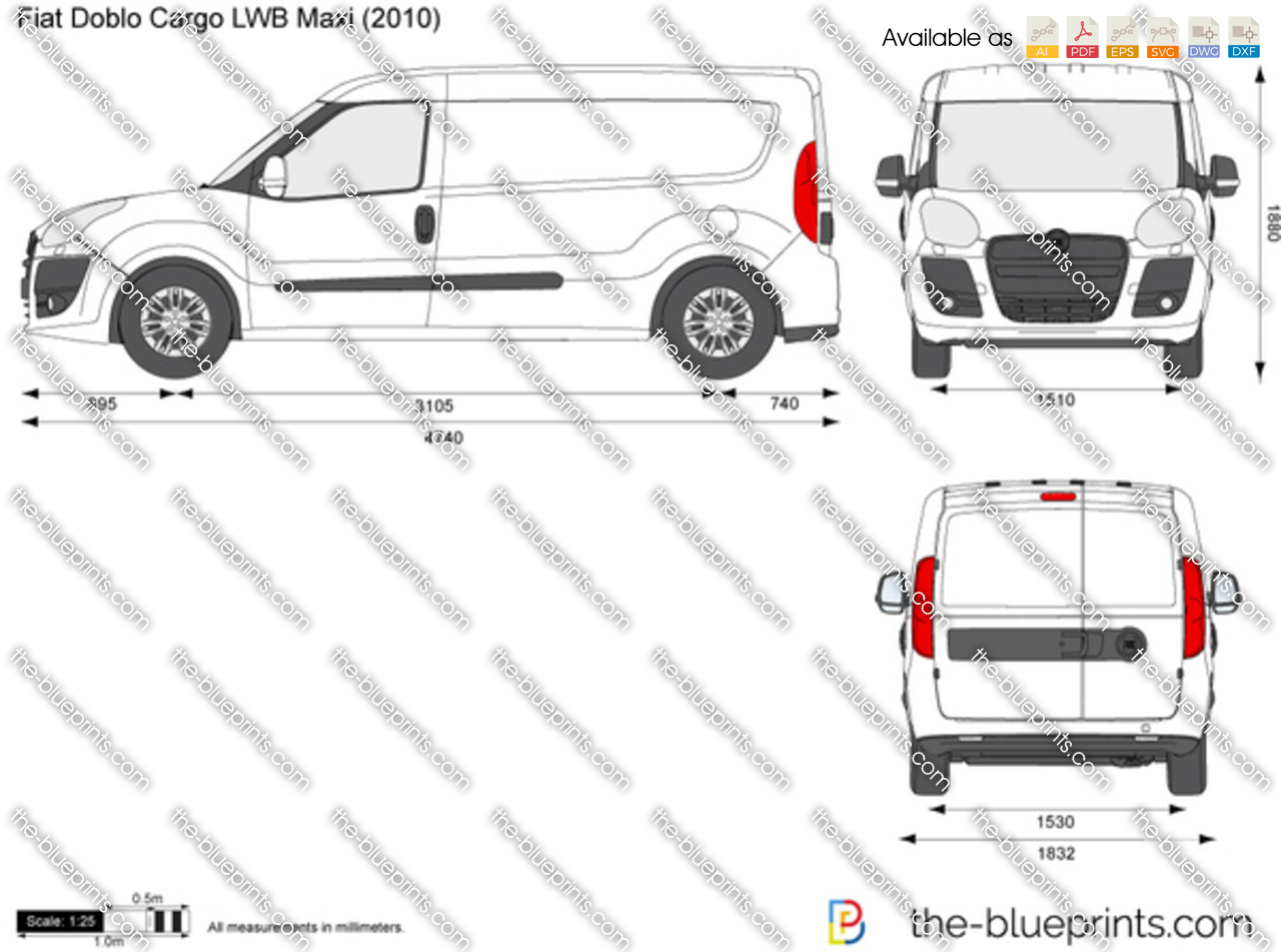 the-blueprints - vector drawing - fiat doblo cargo lwb maxi