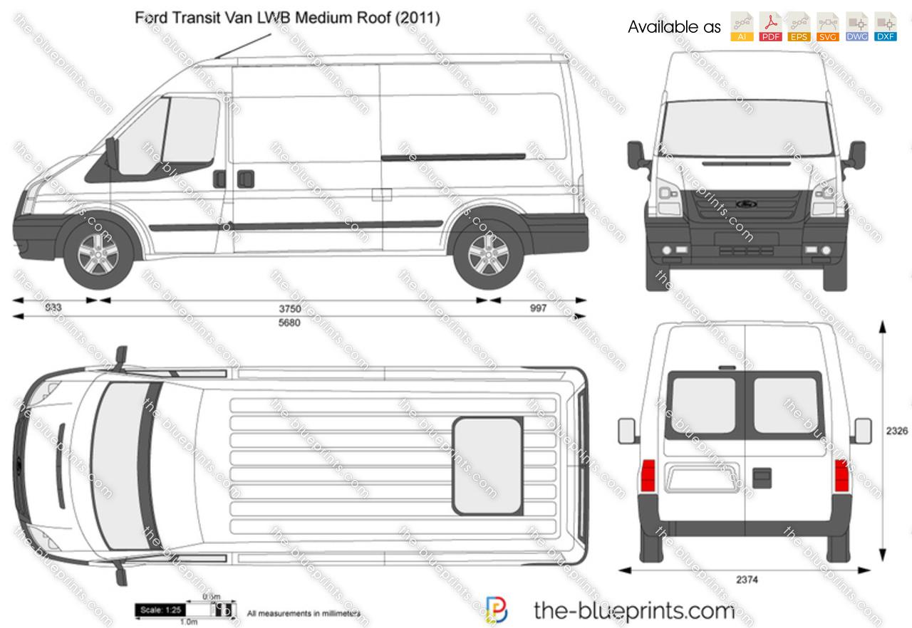 Ford Transit Van Lwb Medium Roof Vector Drawing