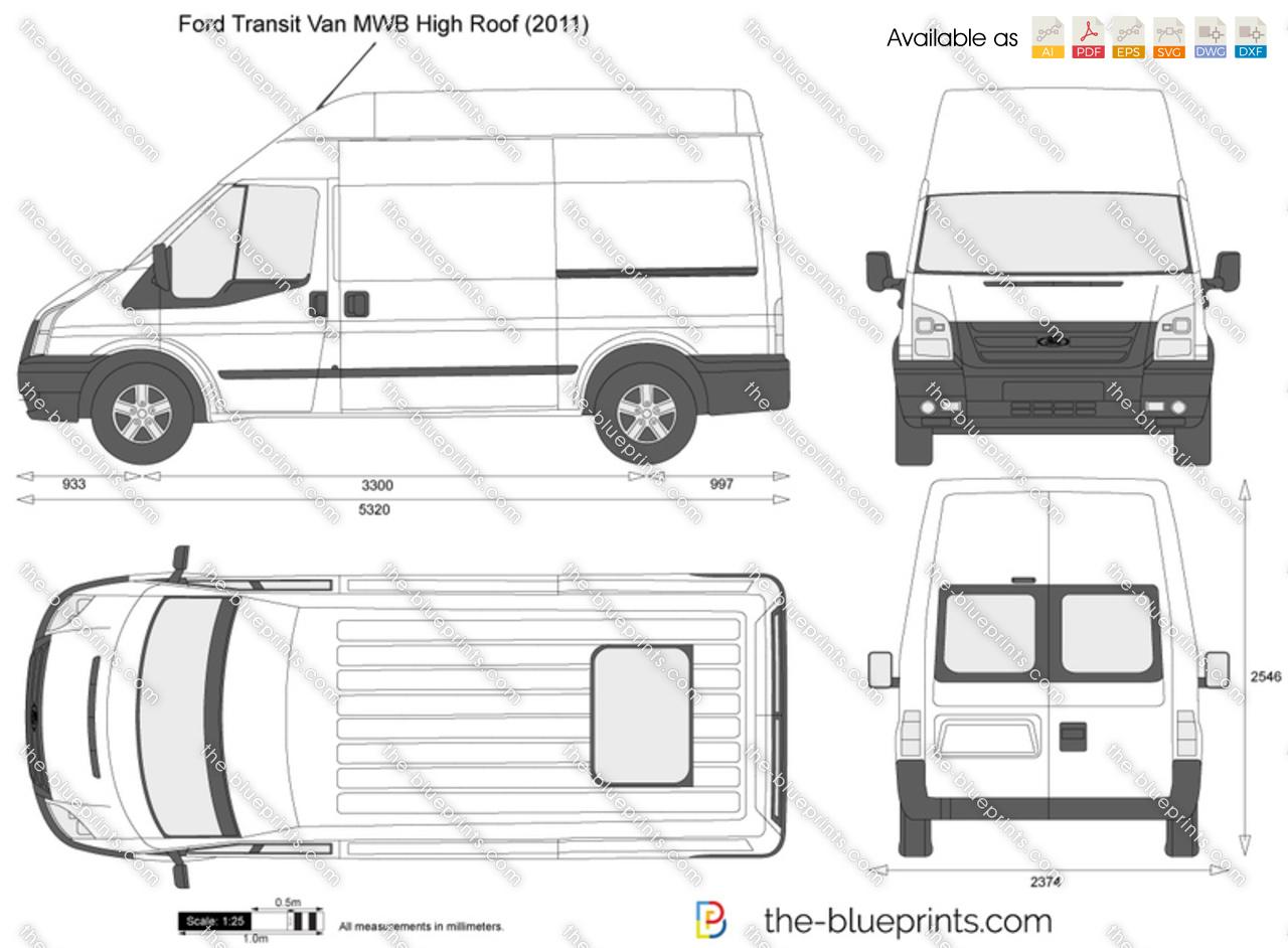 ford transit van mwb high roof vector drawing. Black Bedroom Furniture Sets. Home Design Ideas