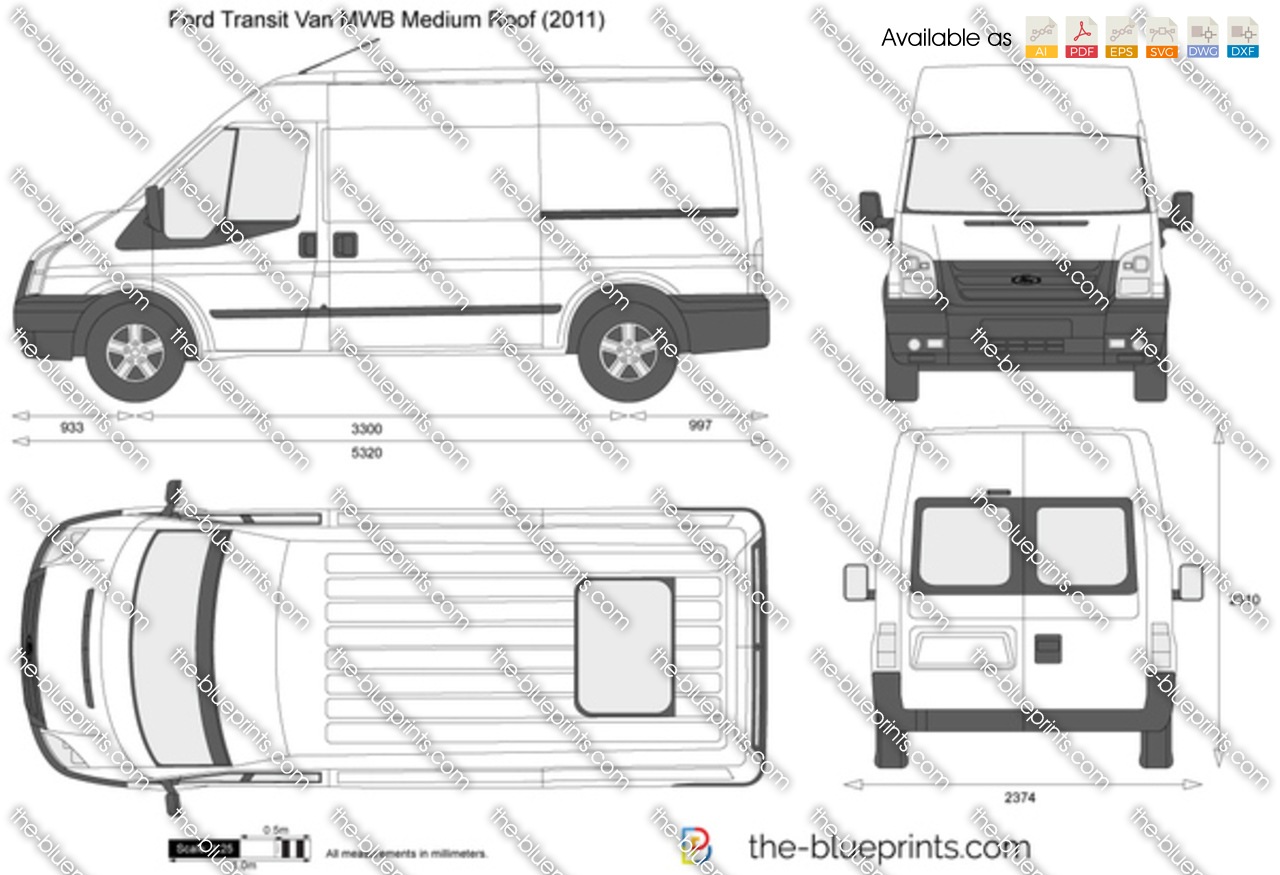 Ford Transit Van Mwb Medium Roof Vector Drawing
