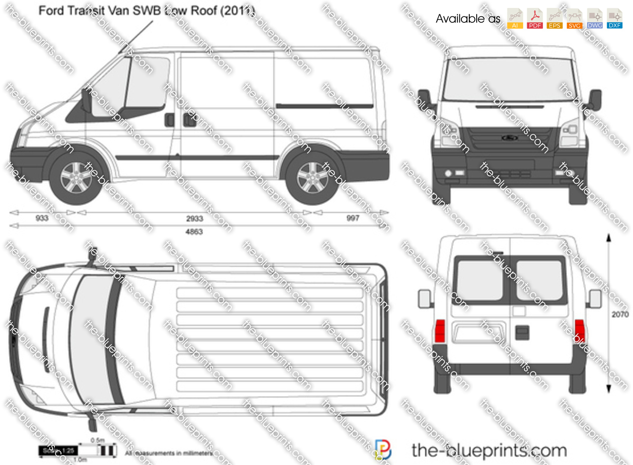 Ford Transit Van Swb Low Roof Vector Drawing