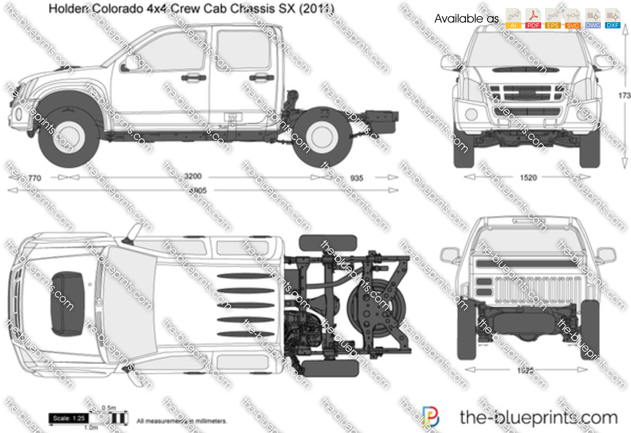 Holden Colorado 4x4 Crew Cab Chassis Sx Vector Drawing