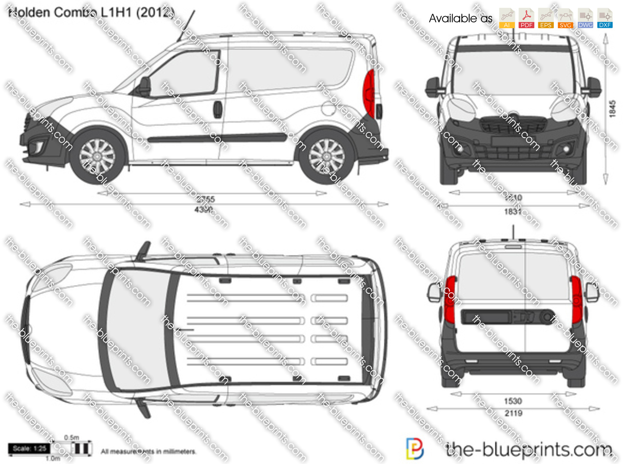 Holden Combo L1h1 Vector Drawing