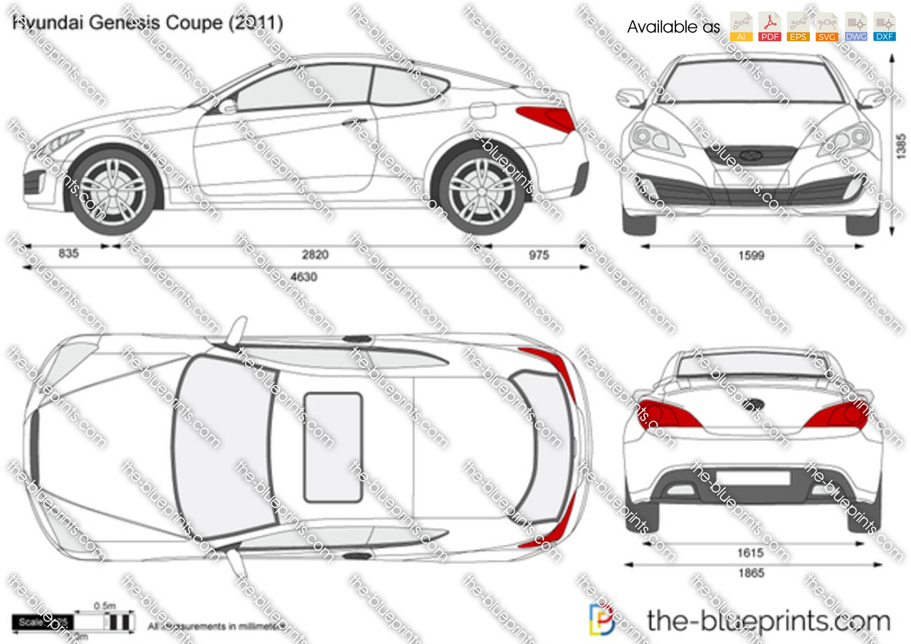 Hyundai Genesis Coupe Vector Drawing