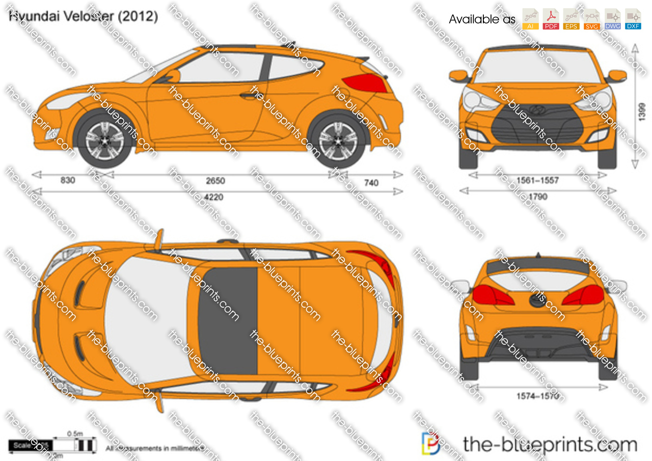 hyundai veloster vector drawing