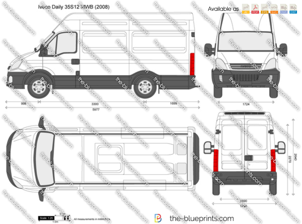 Iveco Daily 35s12 Mwb Vector Drawing