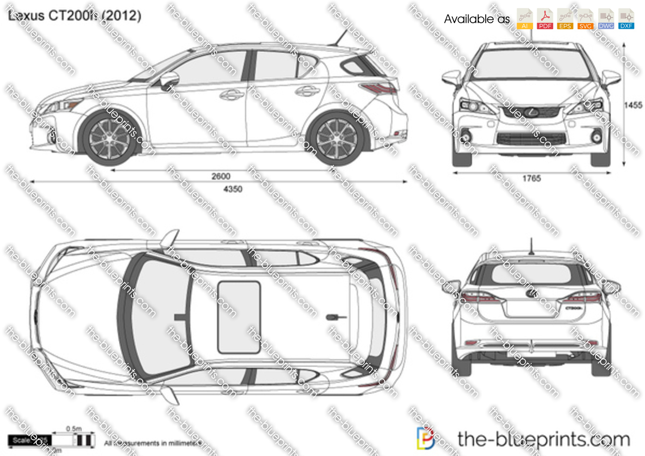 lexus ct 200h vector drawing