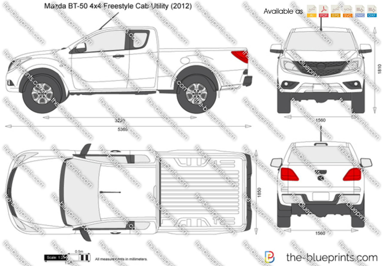 Mazda Bt 50 4x4 Freestyle Cab Utility Vector Drawing