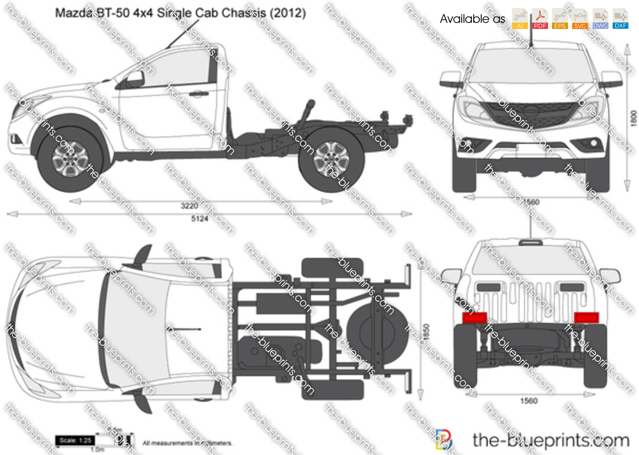 mazda bt   single cab chassis vector drawing