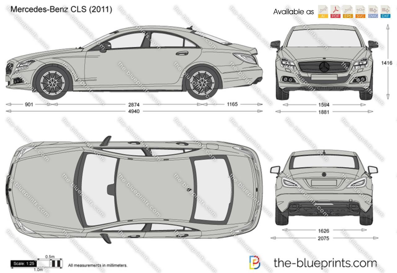 Mercedes Benz Cls W218 Vector Drawing