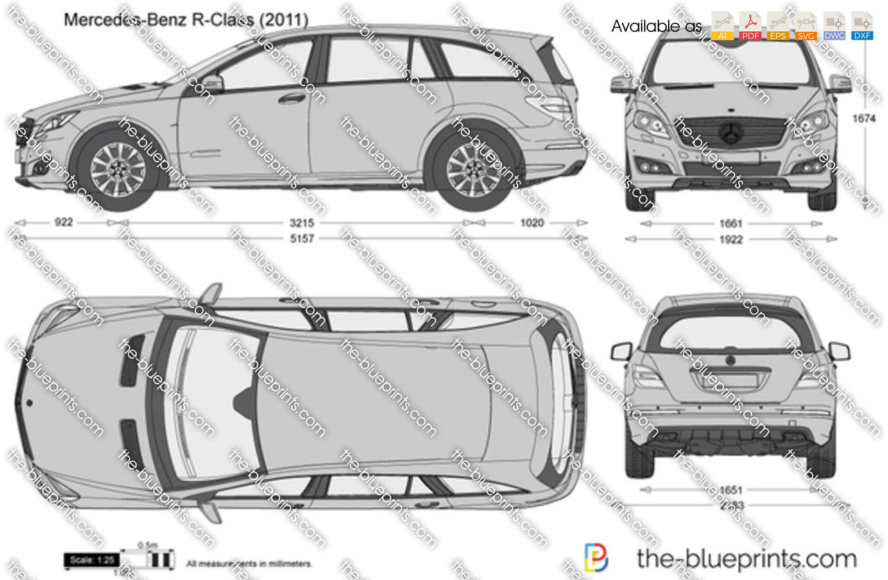 Mercedes Benz R Class W251 Vector Drawing