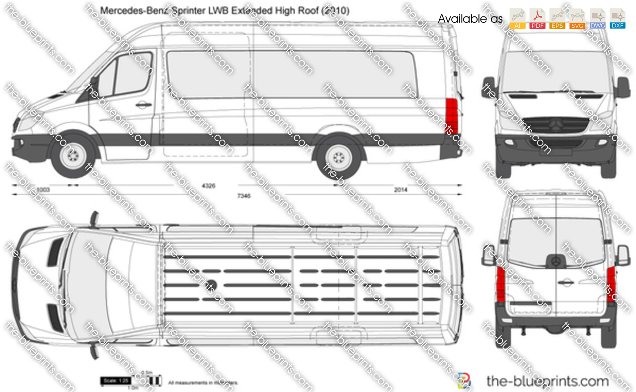 Mercedes Benz Sprinter Lwb Extended High Roof Vector Drawing