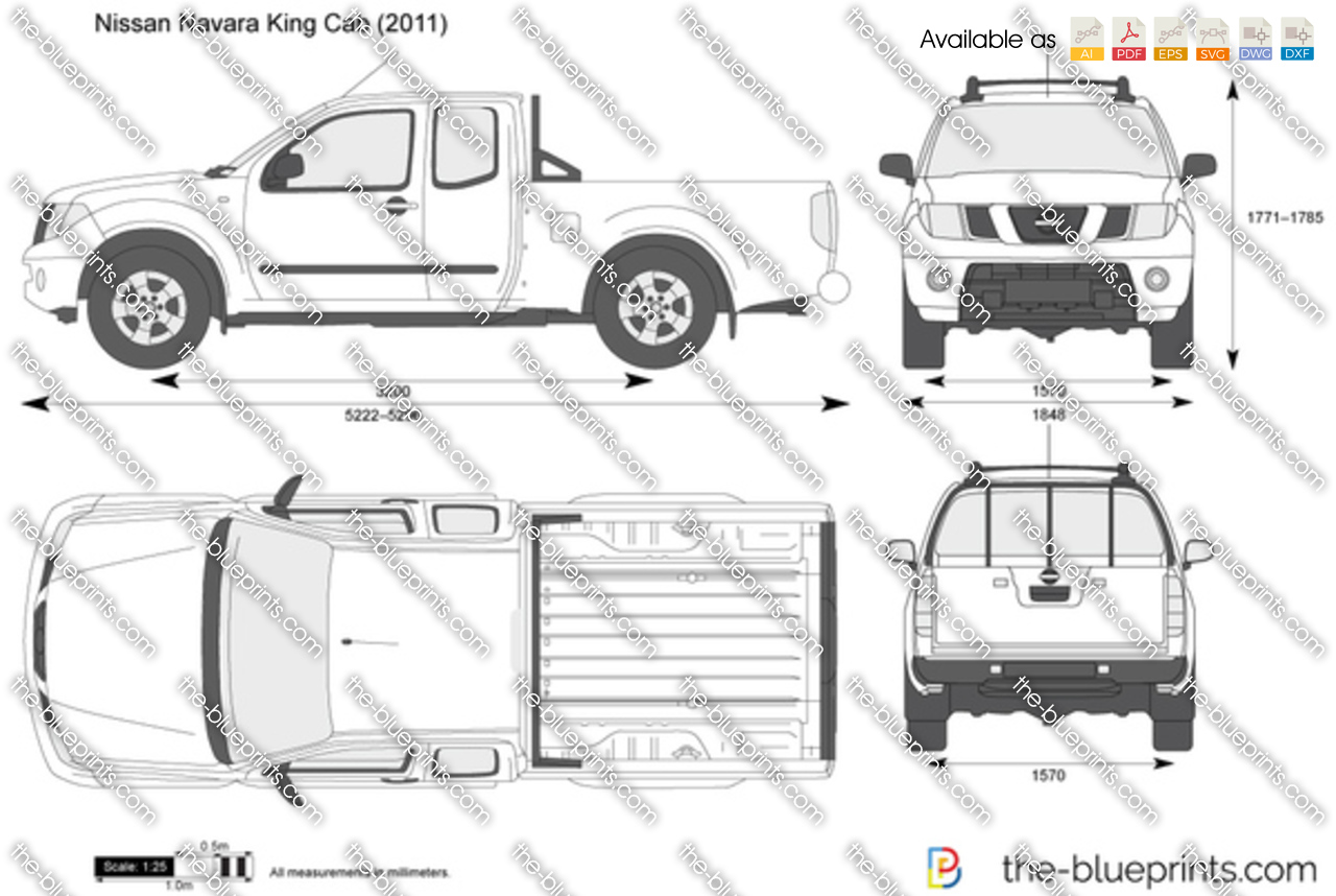 Nissan Navara King Cab Vector Drawing