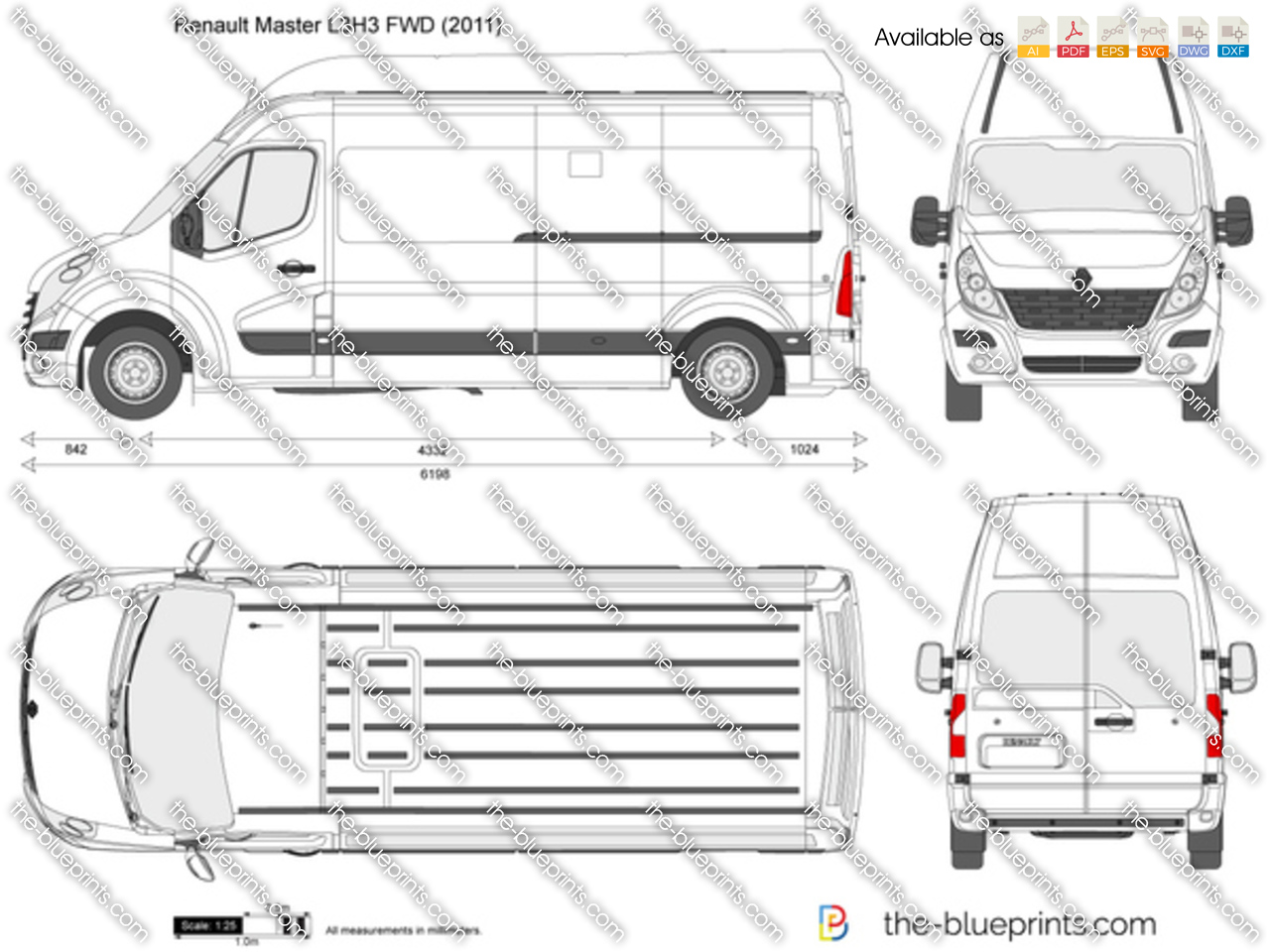 Renault Master L3h3 Fwd Vector Drawing