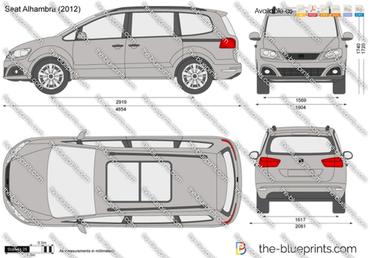 The vector drawing seat alhambra - Dimensiones seat ...
