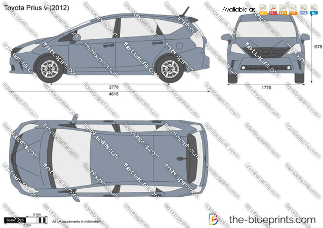 Toyota Prius V Vector Drawing