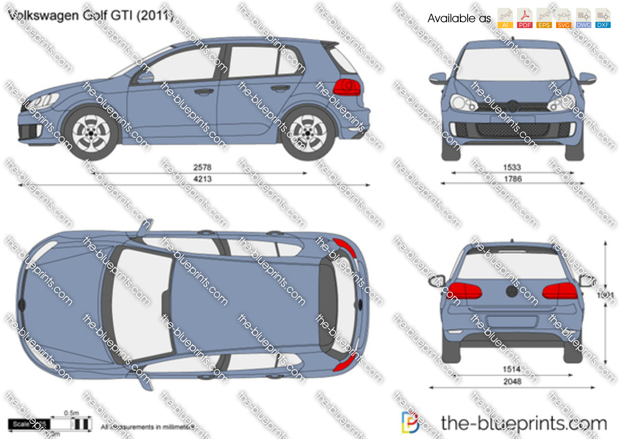 Volkswagen Golf Gti Vector Drawing