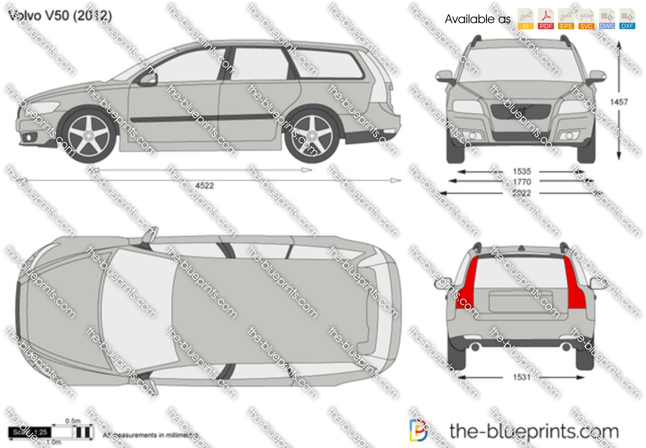 Volvo V50 Vector Drawing