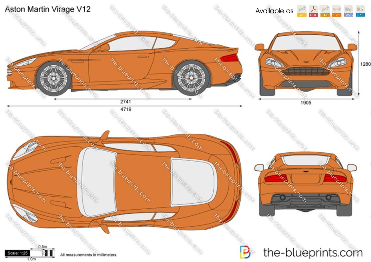 Aston Martin Virage V12 Vector Drawing
