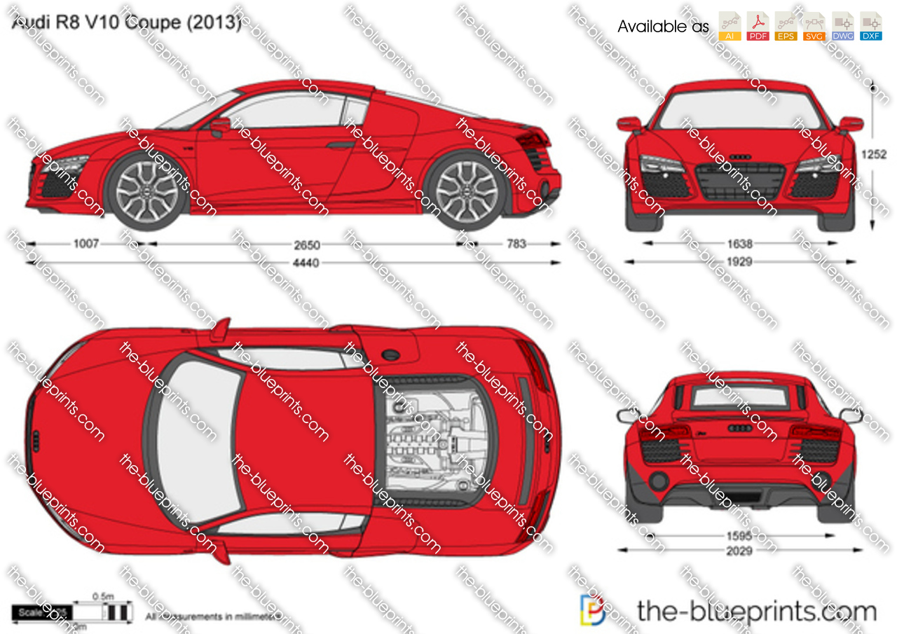 The-Blueprints.com - Vector Drawing - Audi R8 V10 Coupe