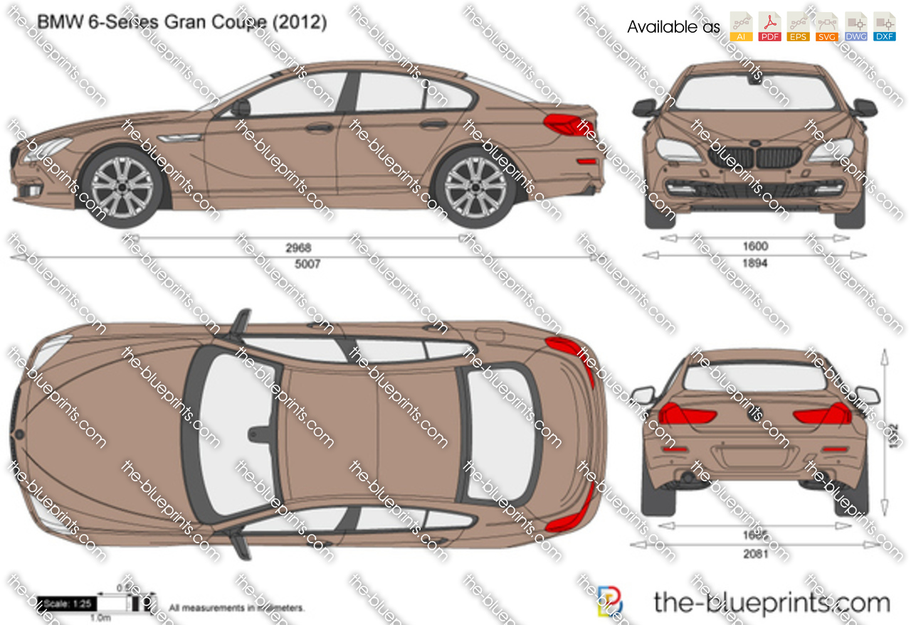 Bmw 6 Series Gran Coupe F06 Vector Drawing