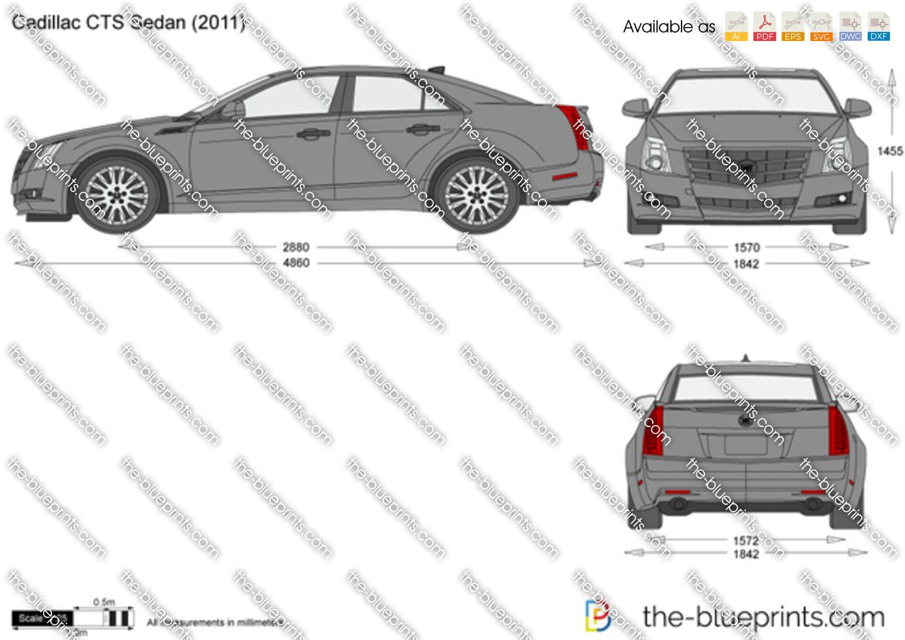 cadillac cts sedan vector drawing