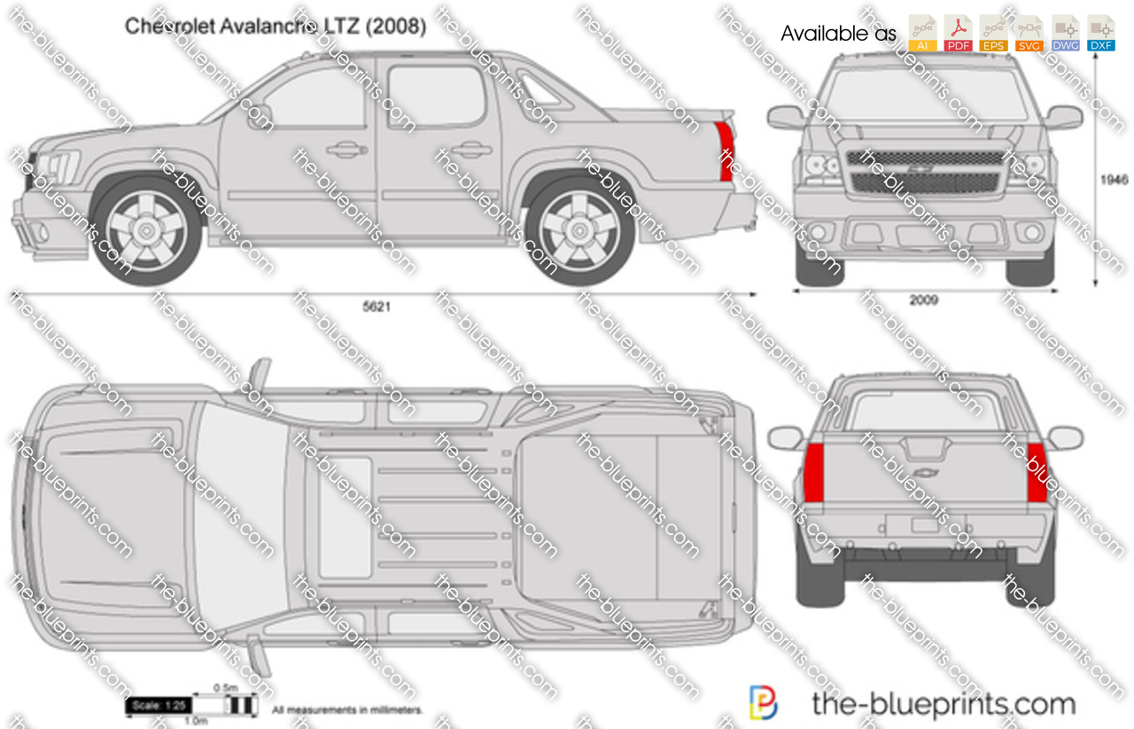 2008 Jeep Wrangler For Sale >> Chevrolet Avalanche LTZ vector drawing
