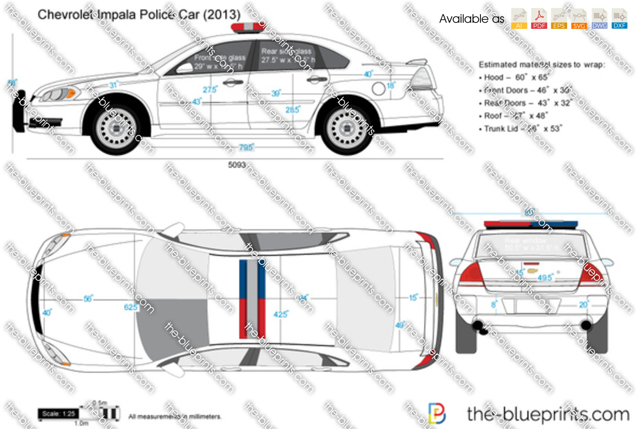 Chevrolet impala police car vector drawing chevrolet impala police car malvernweather Choice Image