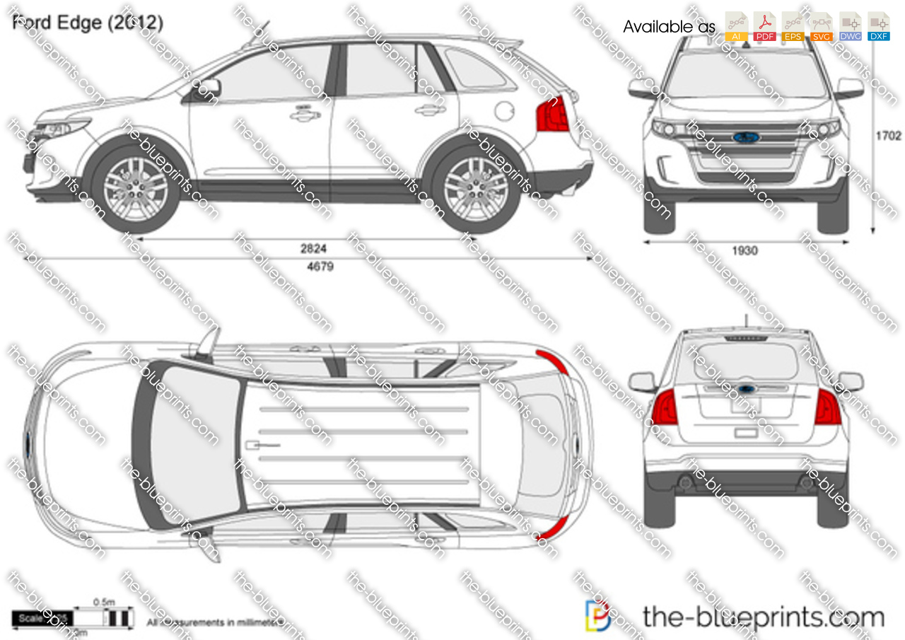 Ford Edge Dimensions Ford Edge Vector Drawing
