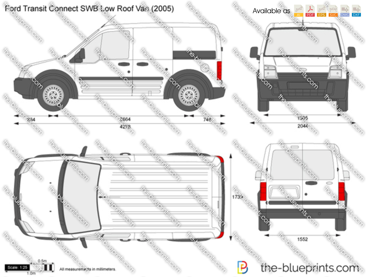 Ford Transit Connect Swb Low Roof Van Vector Drawing
