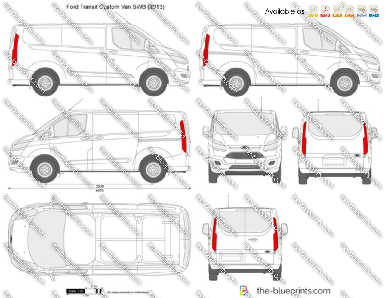 Ford Transit 2017 Wymiary >> Ford Transit Custom SWB L1H1 vector drawing