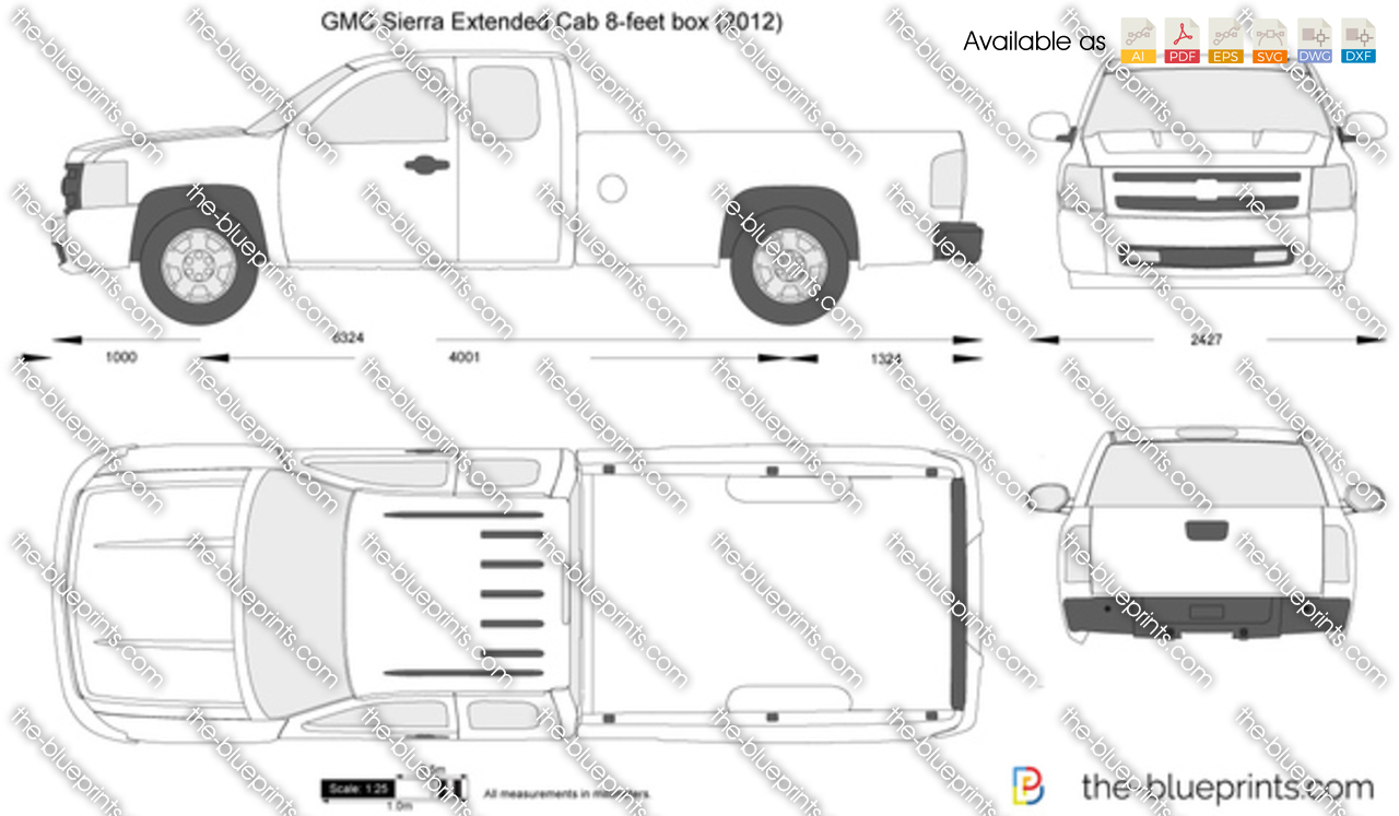 GMC Sierra Extended Cab 8-feet box vector drawing