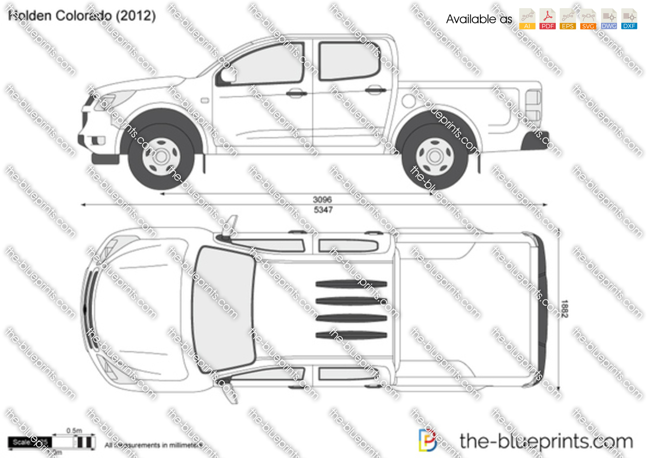 Holden colorado crew cab on scale car drawing