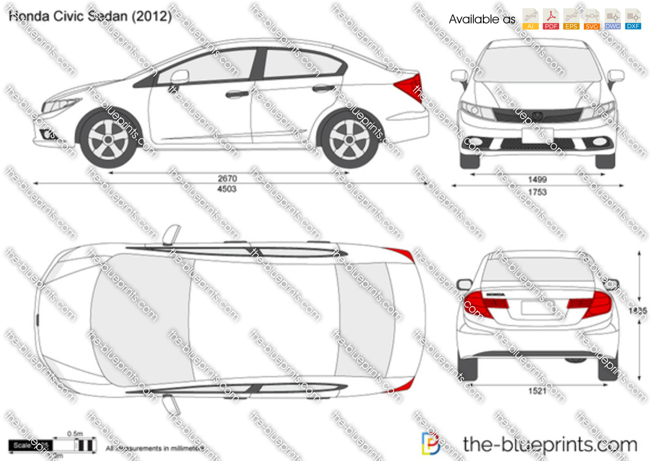The Blueprints Com Vector Drawing Honda Civic Sedan