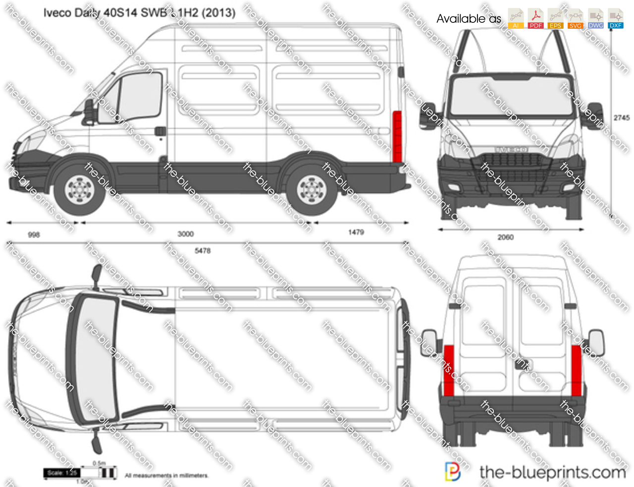 Super Iveco Daily 40S14 SWB L1H2 vector drawing IQ74