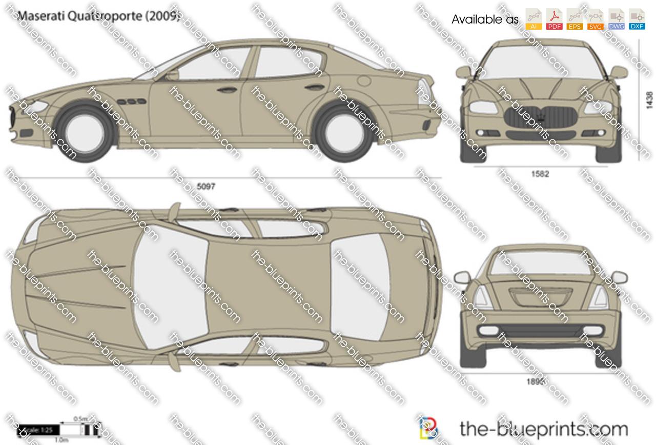Maserati Quattroporte Vector Drawing